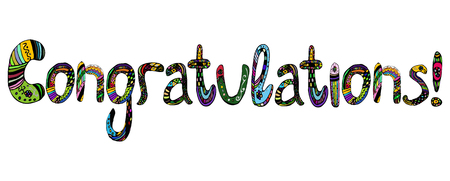 Congratulations on the inscription in multicolored letters lettering doodle. Vector illustration on isolated background Illusztráció