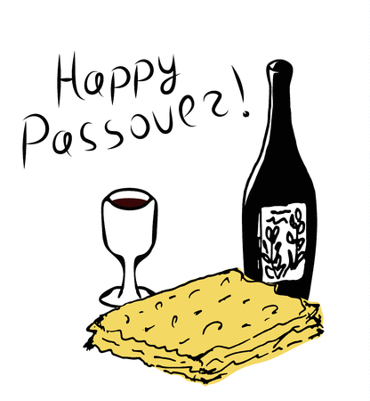 Happy Passover inscription lettering. Bottle of wine, glass, matzoh. Doodle, sketch, hand drawing, coloring. Vector illustration