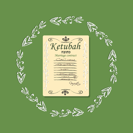 Ketubah. Jewish marriage contract. Blank. Doodle. Hand drawing. Vector illustration