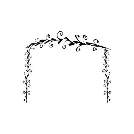 Arch wedding. Chuppah. Doodle. hand draw. Sketch. Vector illustration on isolated background Illustration