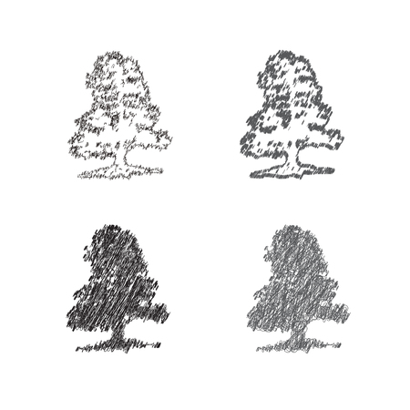A set of hand drawing of decorative trees. Иллюстрация