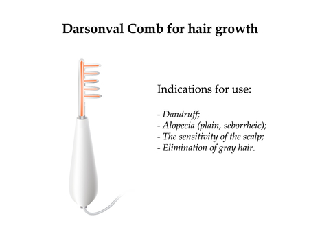 Darsonval. The device for the treatment of the skin. Medicinal properties darsonval comb hair. Vector illustration on isolated background. Illustration