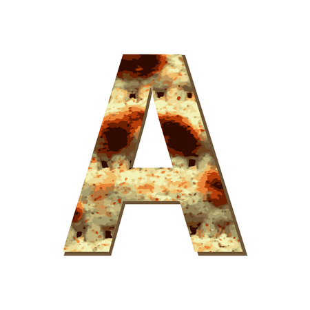 capital English letter A with matza texture. Font for Passover. Vector illustration on isolated background.