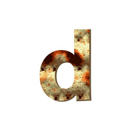 Lettre minuscule anglaise D avec texture matza. Police pour la Pâque. Illustration vectorielle sur fond isolé. Vecteurs