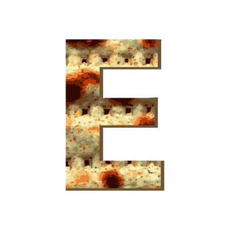 capital English letter E with matza texture. Font for Passover. Vector illustration on isolated background.