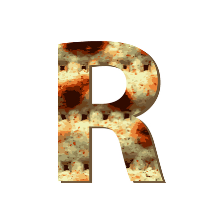 capital English letter R with matza texture. Font for Passover. Vector illustration on isolated background.