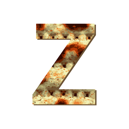 capital English letter Z with matza texture. Font for Passover. Vector illustration on isolated background.