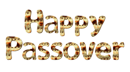 Happy Passover greeting inscription of letters with the texture of matzo. Vector illustration on isolated background.