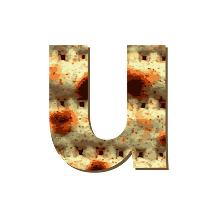 capital English letter U with matza texture. Font for Passover. Vector illustration on isolated background. Illustration