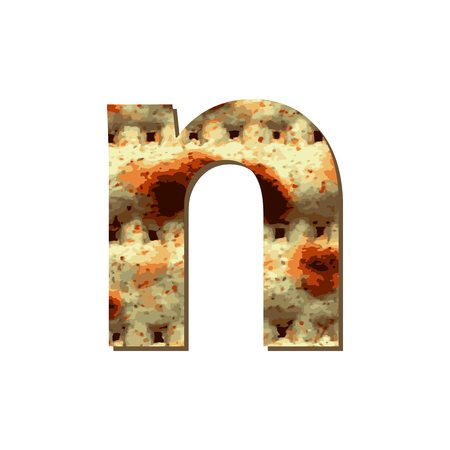 English lowercase letter N with matza texture. Font for Passover. Vector illustration on isolated background. Stock Vector - 119590785