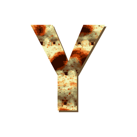 capital English letter Y with matza texture. Font for Passover. Vector illustration on isolated background. Illustration