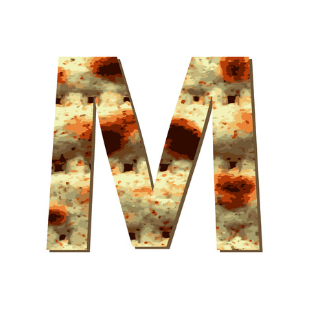 capital English letter M with matza texture. Font for Passover. Vector illustration on isolated background. Illustration