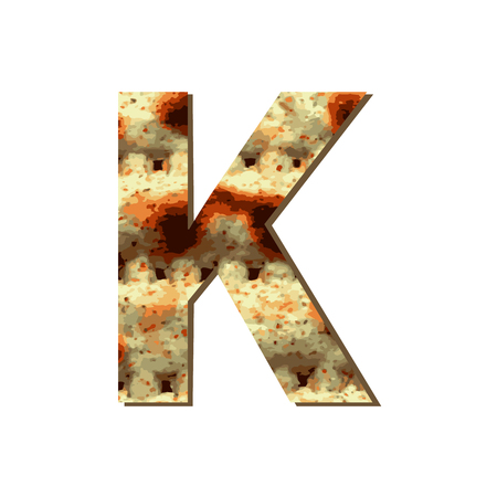 capital English letter K with matza texture. Font for Passover. Vector illustration on isolated background.