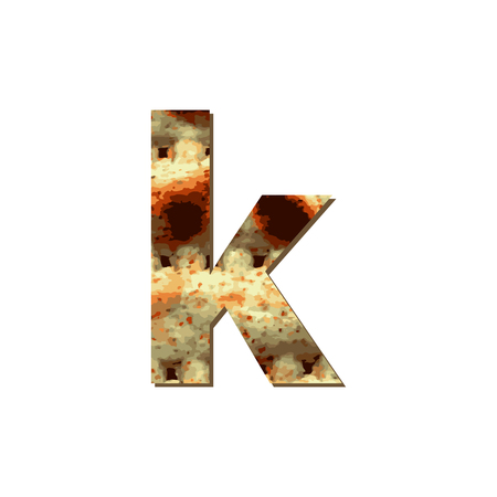 English lowercase letter K with matza texture. Font for Passover. Vector illustration on isolated background.