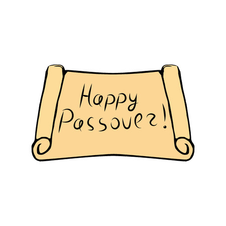 Greeting inscription on the scroll of the Torah Happy Passover letering Hand draw. Vector illustration on isolated background