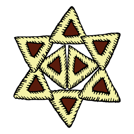 Star of David from gomentashen. Holiday Purim. Hand draw. Vector illustration on isolated background.