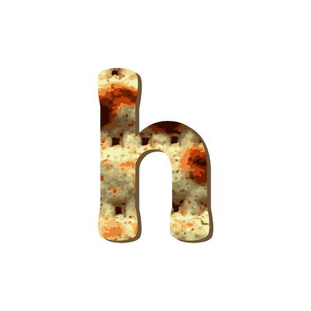 Rounded English lowercase letter H with matza texture. Font for Passover. Vector illustration on isolated background.