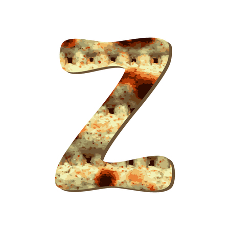 Rounded .capital English letter Z with matza texture. Font for Passover. Vector illustration on isolated background.