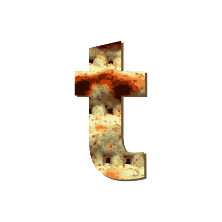 English lowercase letter T with matza texture. Font for Passover. Vector illustration on isolated background.