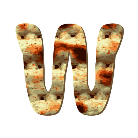 Rounded capital English letter W with matza texture. Font for Passover. Vector illustration on isolated background.