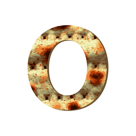 Rounded capital English letter O with matza texture. Font for Passover. Vector illustration on isolated background.