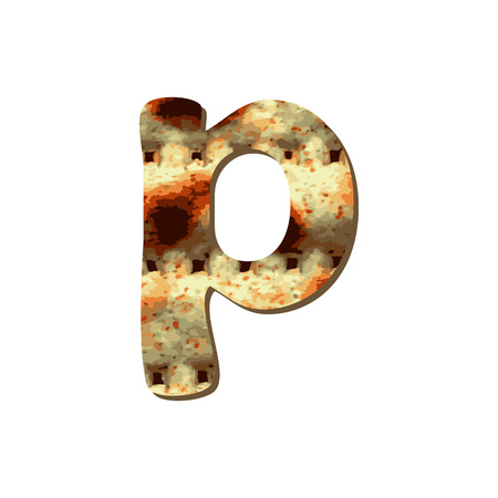 Rounded English lowercase letter P with matza texture. Font for Passover. Vector illustration on isolated background. Illustration