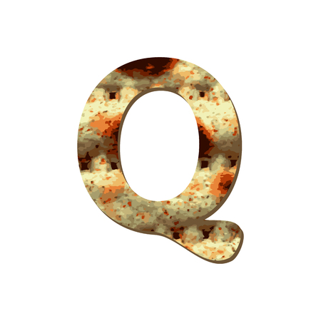 Rounded capital English letter Q with matza texture. Font for Passover. Vector illustration on isolated background.