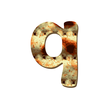 Rounded English lowercase letter Q with matza texture. Font for Passover. Vector illustration on isolated background.