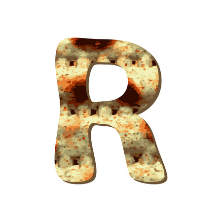 Rounded capital English letter R with matza texture. Font for Passover. Vector illustration on isolated background.