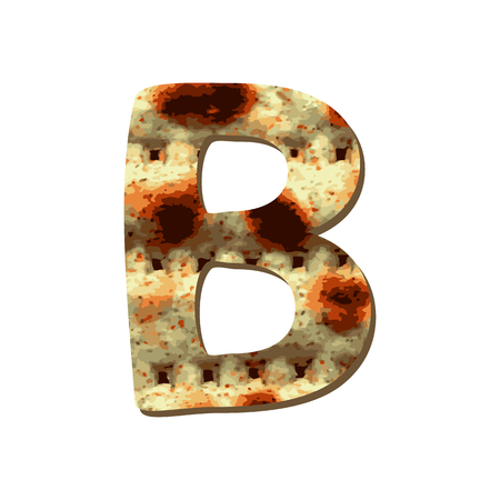 Rounded capital English letter B with matza texture. Font for Passover. Vector illustration on isolated background.