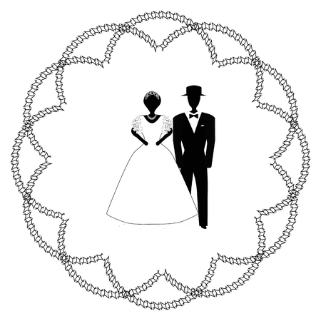 Arch for wedding vintage. The Jewish Hupa. Wedding hoop. Bride and groom. Round vintage decorative frame. Doodle. Hand draw. Vector illustration on isolated background. Illustration