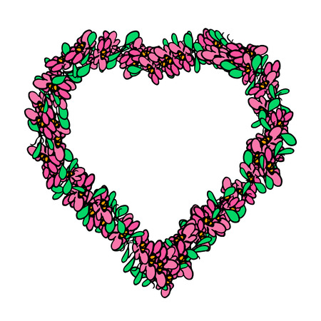 Decorative heart in a floral frame. Vector illustration on an isolated background..