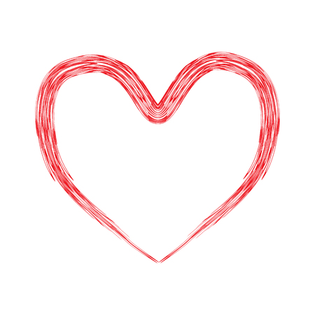 Red heart brush print on valentines day. Vector illustration on isolated background.
