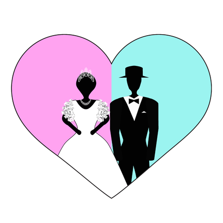 Bride and groom in pink blue heart. Vector illustration on isolated background. Çizim