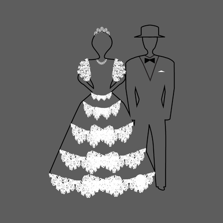 Linear silhouette of the bride and groom in a white lace dress. Vector illustration on gray background. Фото со стока - 122656654
