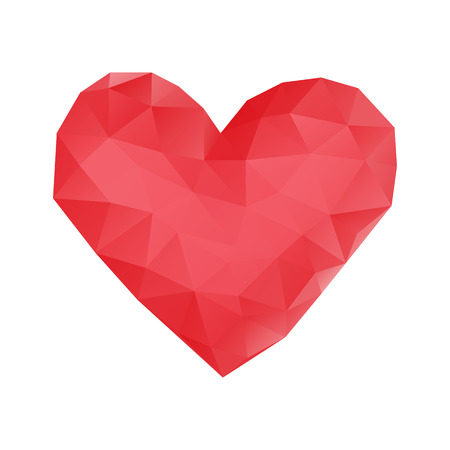 Red heart made of triangles. Valentines Day. Vector illustration on isolated background. Çizim