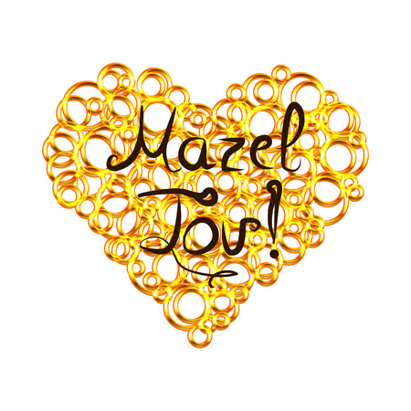 Golden heart from circles with lettering inscription Mazel Tov in Hebrew I wish you happiness. Vector illustration on isolated background. Stok Fotoğraf