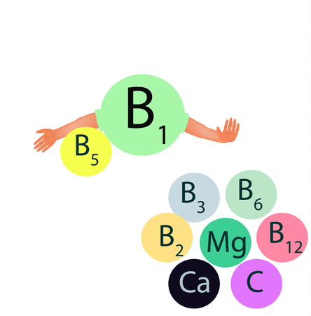 Vitamin b1 compatibility with other vitamins and minerals. Infographics. Vector illustration on isolated background. Illustration