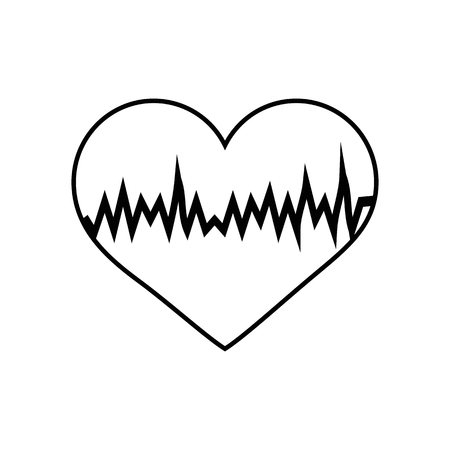 Heart with cardiogram. Sketch. Linear icon. Vector illustration Çizim