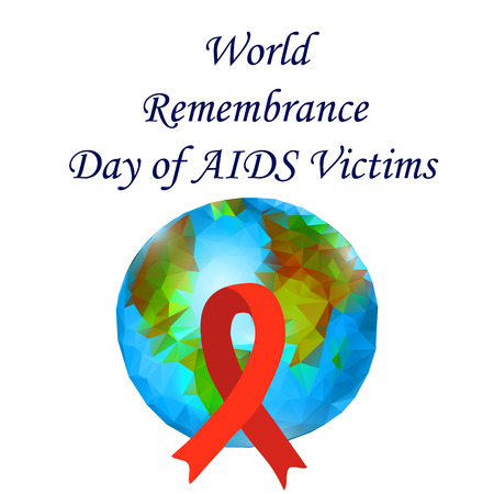 World Remembrance Day of AIDS Victims. Red ribbon and planet Earth. Vector illustration on isolated background Stockfoto - 122657088