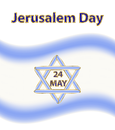 Jerusalem Day. 24 May. Flag of Israel. Six-pointed star. Magen David. Vector illustration on isolated background Imagens - 122937072