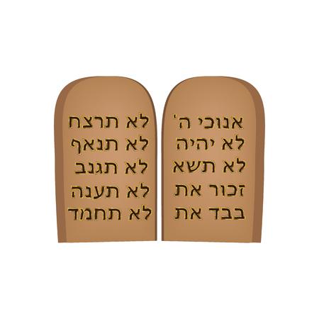 Tafeln des Bundes. 10 Gebote der Bibel. Tora Mosche. Tafeln von Moses auf Hebräisch. Jüdischer Feiertag Schawuot. Vektor-Illustration. Vektorgrafik
