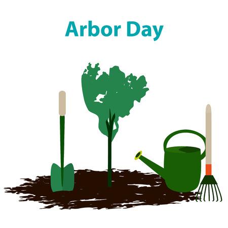 Arbor Day. 29 April. Tree. Garden tools. Shovel rake watering can Vector illustration