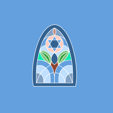 Colorful stained glass window. Jewish six-pointed Star of David. Vector illustration