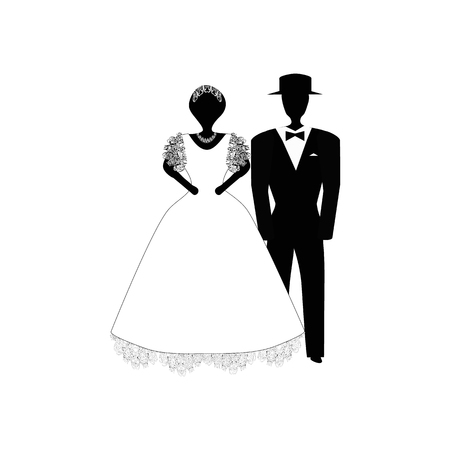 Bride and groom. Black white silhouette. Vector illustration on isolated background. Ilustracja