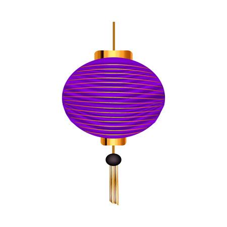 Lanterne chinoise violette. Illustration vectorielle sur fond isolé