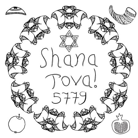 The Jewish holiday of Rosh HaShanah. 5779 The inscription Shana Tov. Bale, apple, pomegranate, shofar. The six-pointed star of David. Circular graphic pattern of the mandala. Doodle, hand draw. Vector.