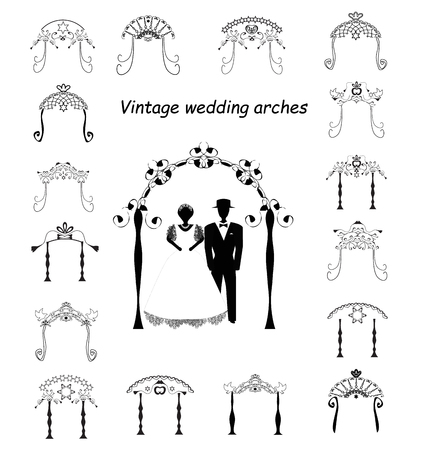 Set of Vintage Graphic Chuppah. Arch for a religious Jewish Jewish wedding. The bride and groom under a canopy. Vector illustration on isolated background Ilustração