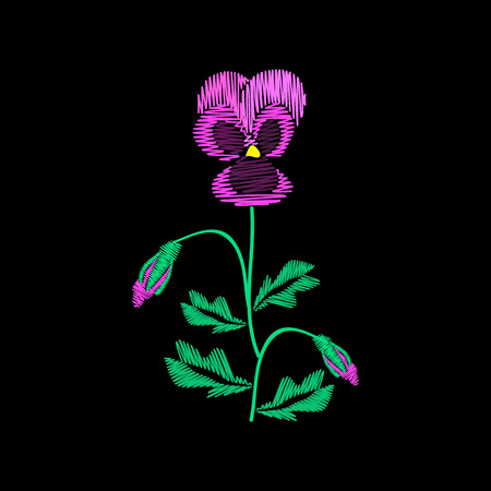 Embroidery of jeans. Smooth. Lilac flowers Pansies with buds. Flower pattern. Traditional folk ornament. Vector illustration on a black background. Ilustrace