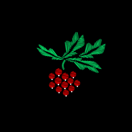 Embroidery of jeans. Smooth. Sprig of the viburnum. Traditional folk ornament. Vector illustration on a black background.